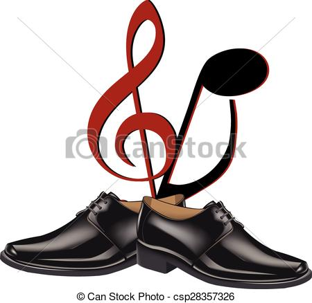 450x438 Black Shoes Dance. Black Shoes Men Dance With Musical Notes