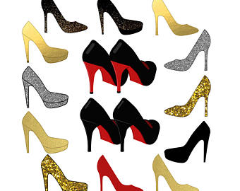 340x270 Shoe Clipart. Ladies Girls Bridal High Heels Clipart.
