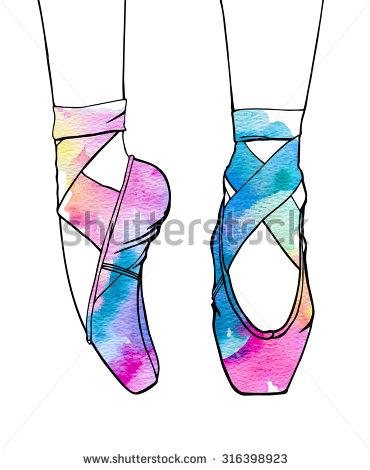 370x470 Ballet Shoe Cartoon Ballerinas Feet In Dancing Ballet Shoes Stock
