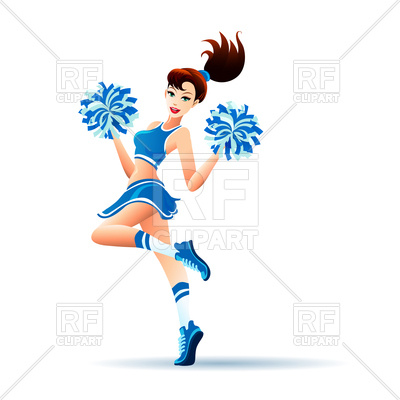 400x400 Young Cheerleader Dancing Girl With Pom Poms Royalty Free Vector