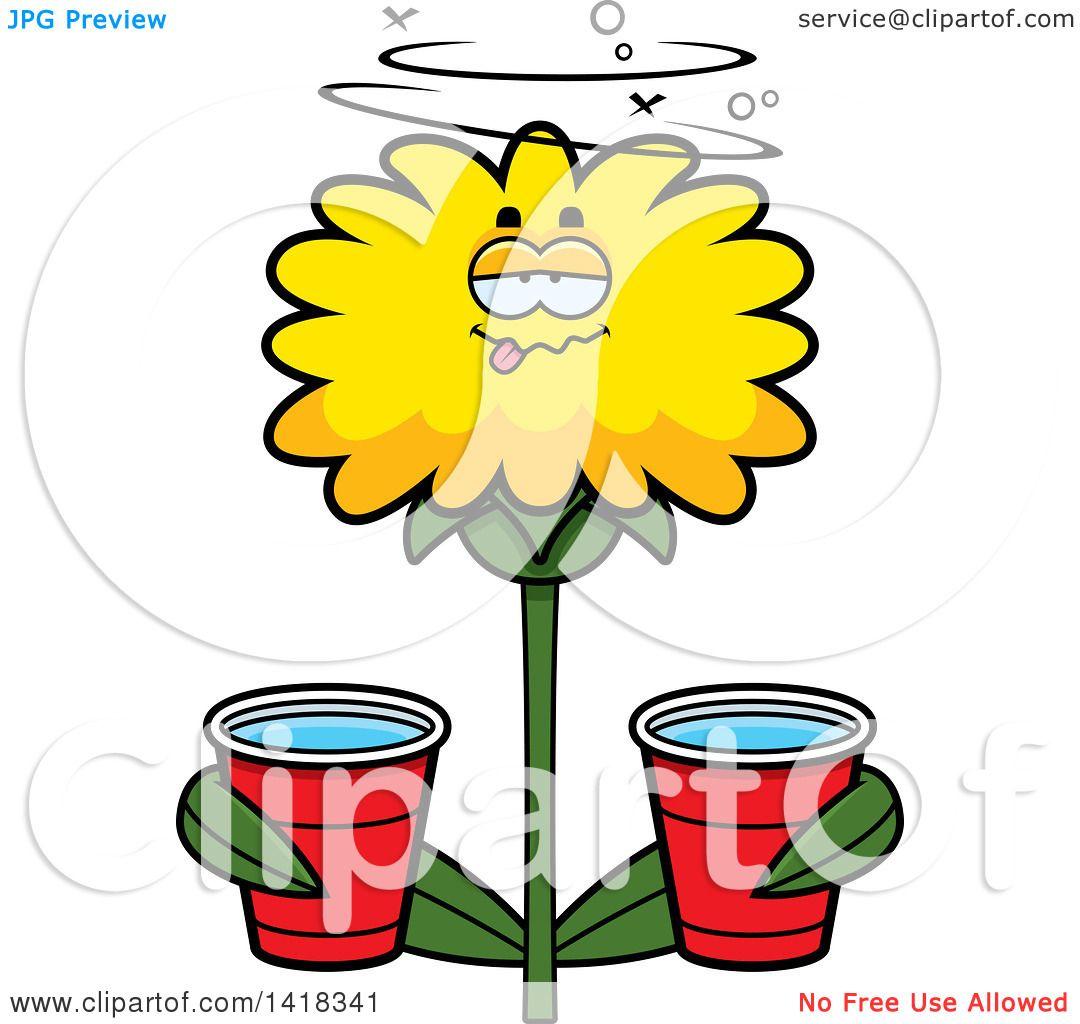 1080x1024 Cartoon Clipart Of A Drunk Dandelion Flower Holding Cups