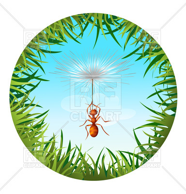 384x400 Insects And Summer Nature Icon. Ant In Sky Holding Dandelion