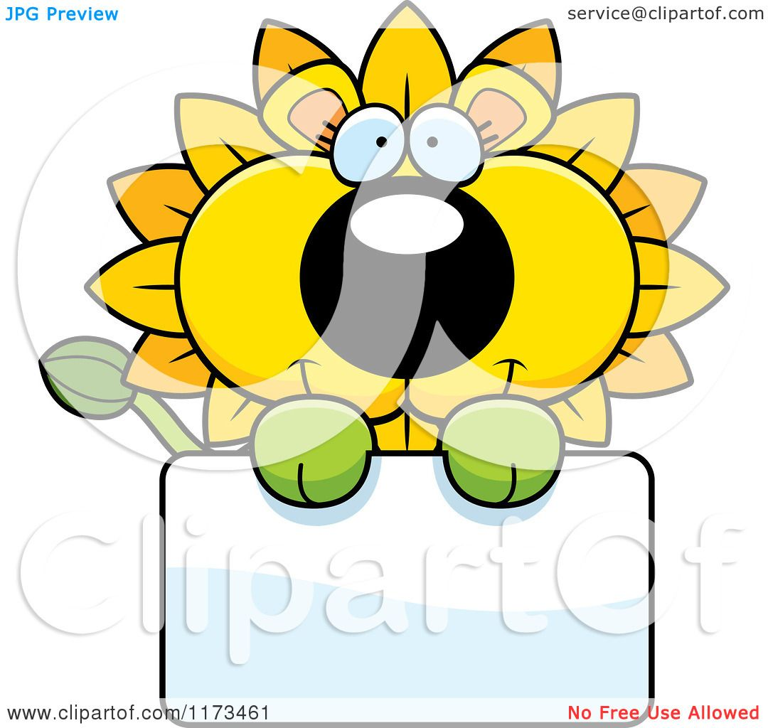 1080x1024 Cartoon Of A Happy Dandelion Flower Lion Mascot Over A Sign