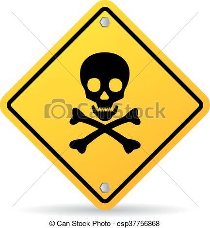 433x470 Skull Danger Sign Isolated On White Background Clip Art Vector