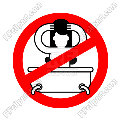 400x400 Stop Girl In Bath. Red Prohibition Sign Of Danger. Royalty Free
