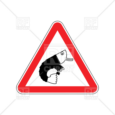 400x400 Triangular Attention Sign With Shrimp, Danger Of Office Plankton