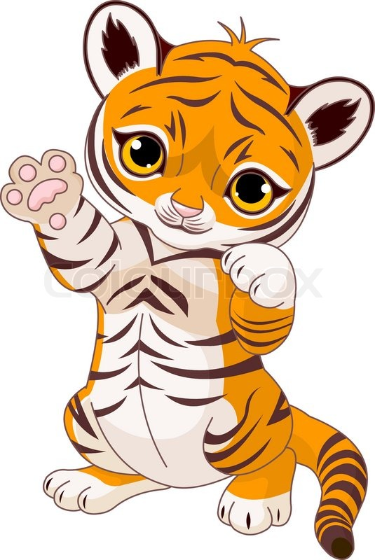535x800 Illustration Of Cute Playful Tiger Cub Waving Hello Stock Vector