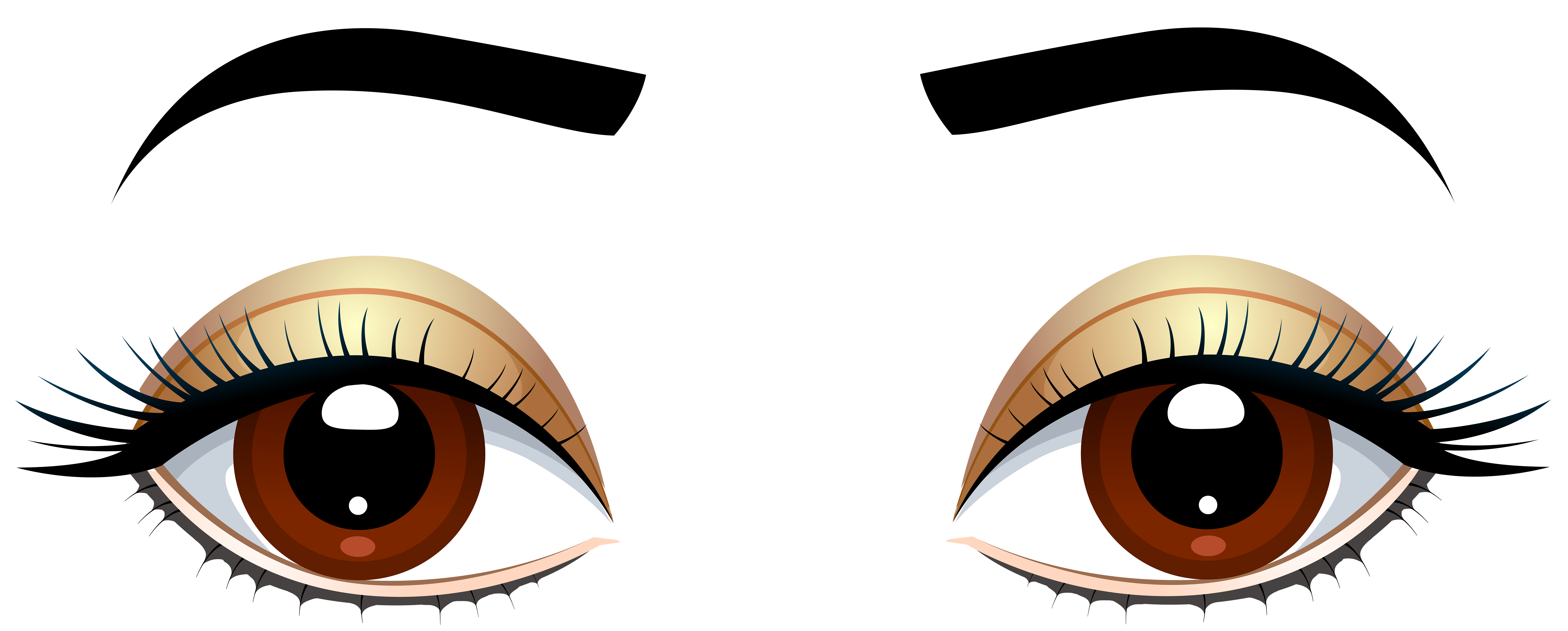 8000x3219 Sweet Design Clipart Eyes Brown With Eyebrows Png Clip Art Best