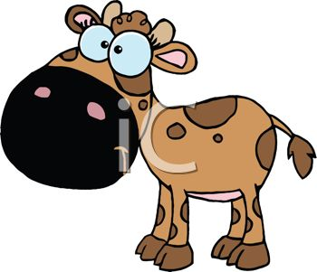 350x301 Picture Of A Brown Cow With Dark Brown Spots In A Vector Clip Art