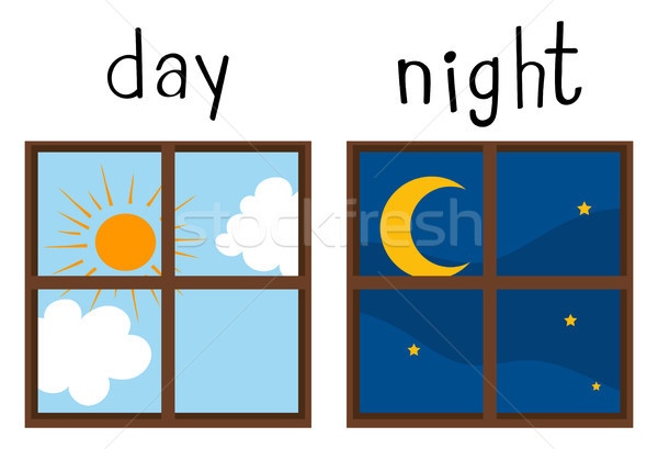 600x409 Opposite Wordcard For Day And Night Vector Illustration Daniel