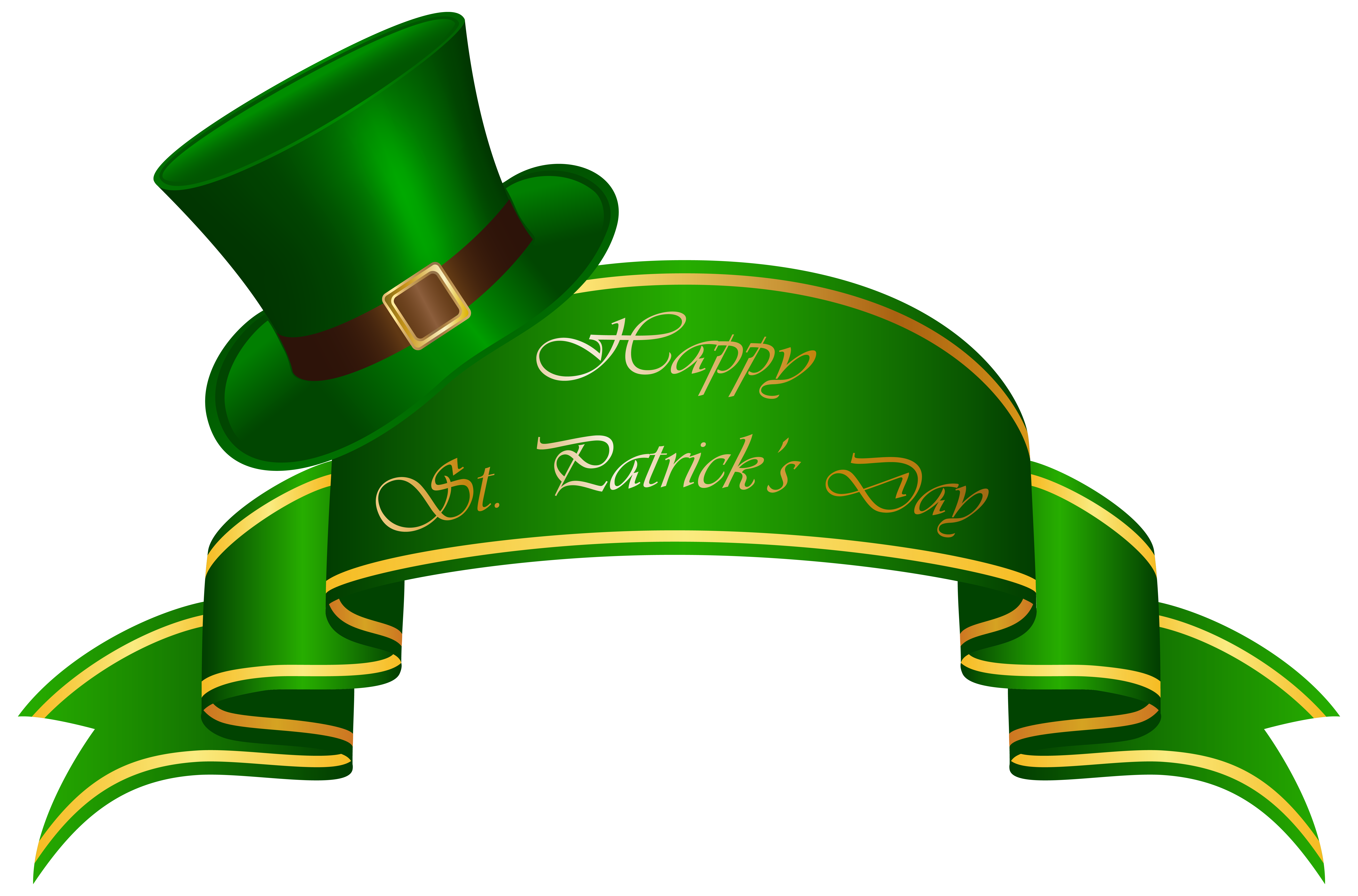 7979x5265 St Patricks Day Banner And Hat Transparent Png Clip Art Image