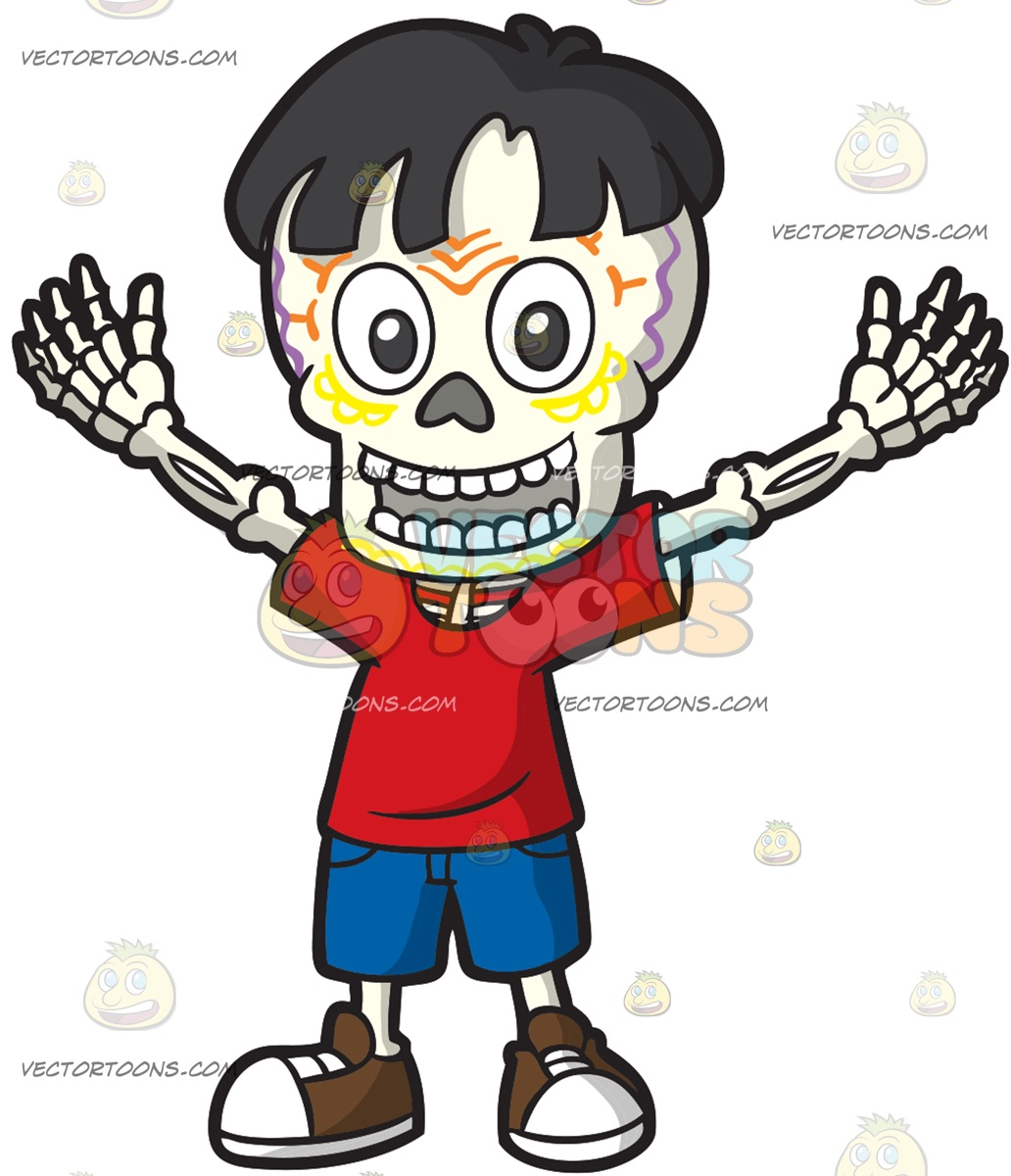 1032x1200 Day Of The Dead Skeleton Of A Young Boy Cartoon Clipart Vector Toons