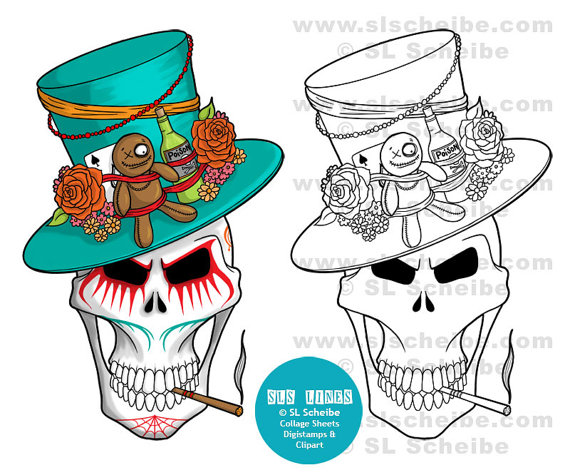570x475 Digital Stamp Voodoo King Skull Day Of The Dead Digistamp