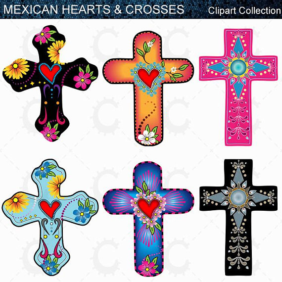 570x570 Mexican Hearts Amp Crosses Day Of The Dead Clipart Collection