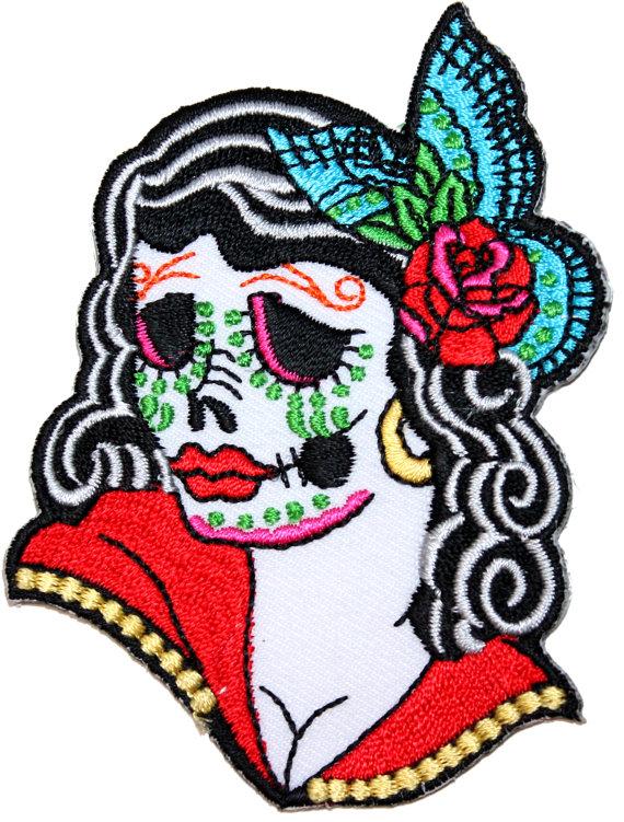 570x751 Calavera Sugar Skull Girl Patch Day Dead Festival Embroidered