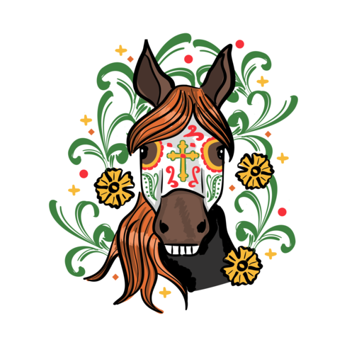 490x490 Day Of The Dead Horse Sticker