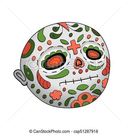 450x470 Emoji Neutral Dia De Los Muertos Day Of The Dead. Emoji Vector