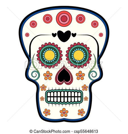 450x470 Floral Ornamente Head Skull. Day Of The Dead. Isolated Vector