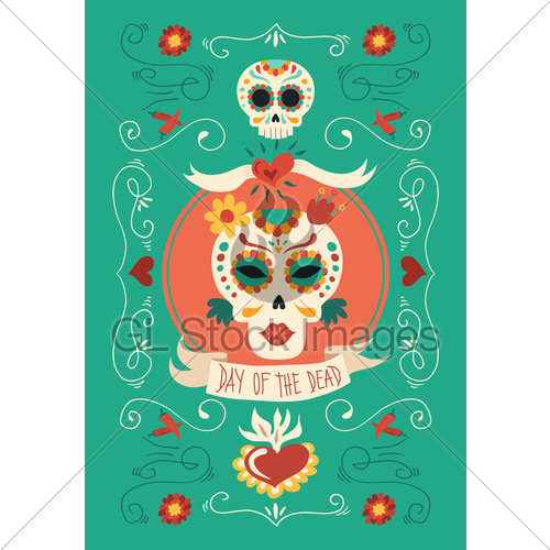500x500 Day Of The Dead Hand Drawn Catrina Sugar Skull Art Gl Stock Images