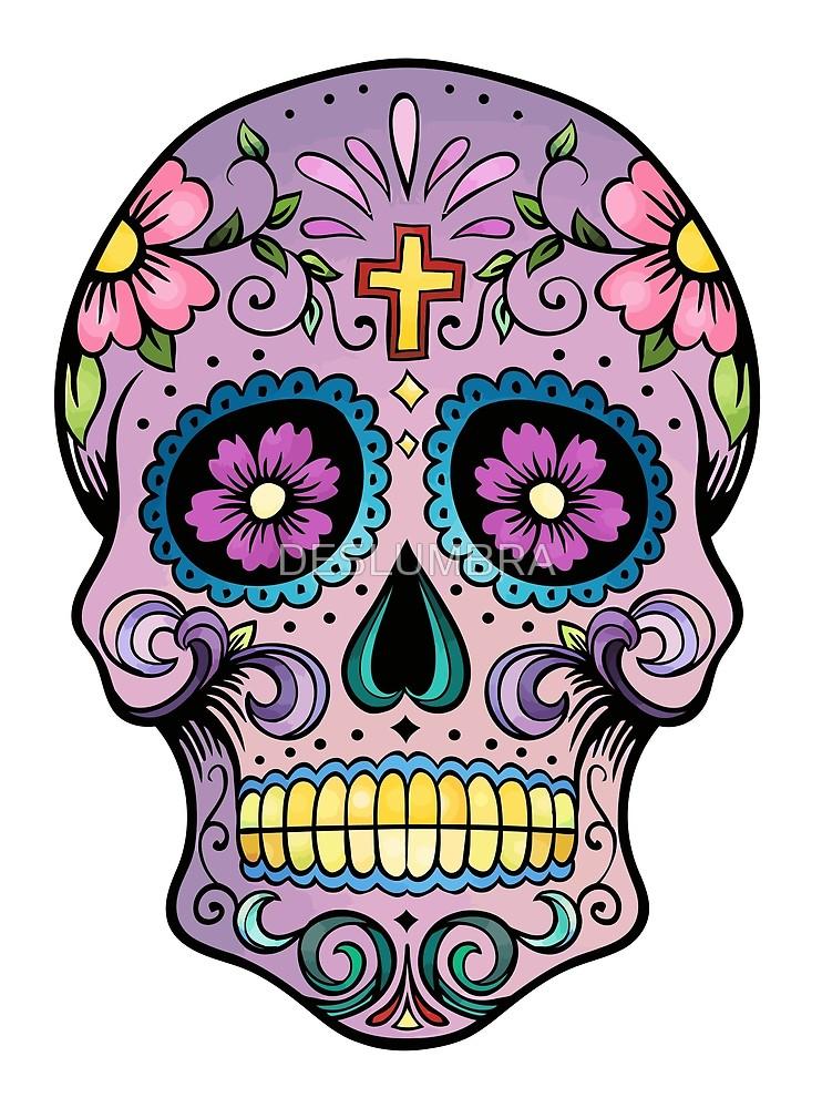 742x1000 Mexican Skull Purple Cross Art Tattoo Man Calavera Candy El Dia De