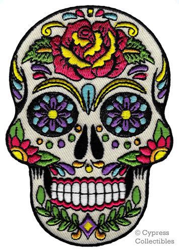 356x501 Sugar Skull Patch Iron On Embroidered Dia De Los Muertos Calavera
