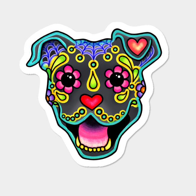 650x650 Smiling Pit Bull In Blue Day Of The Dead Pitbull Sugar Skull