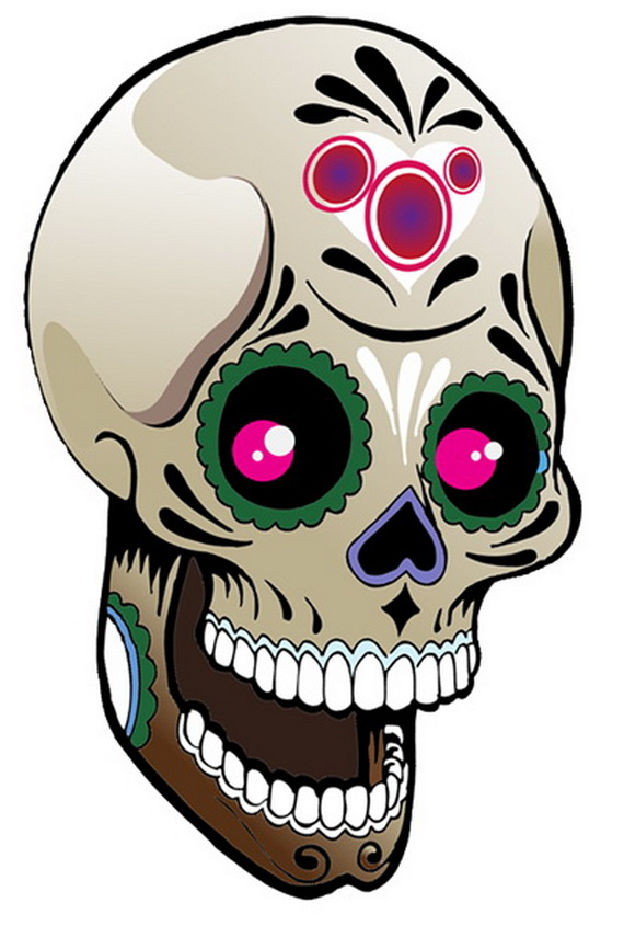 570x845 Sugar Skull Tattoos For Halloween Day Of The Dead