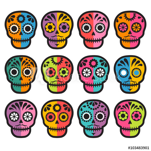 500x500 Colorful Patterned Skull Set, Mexican Day Of The Dead Stickers