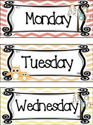 300x400 Owl Themed Printable Days Of The Week Classroom Bulletin Board Set.