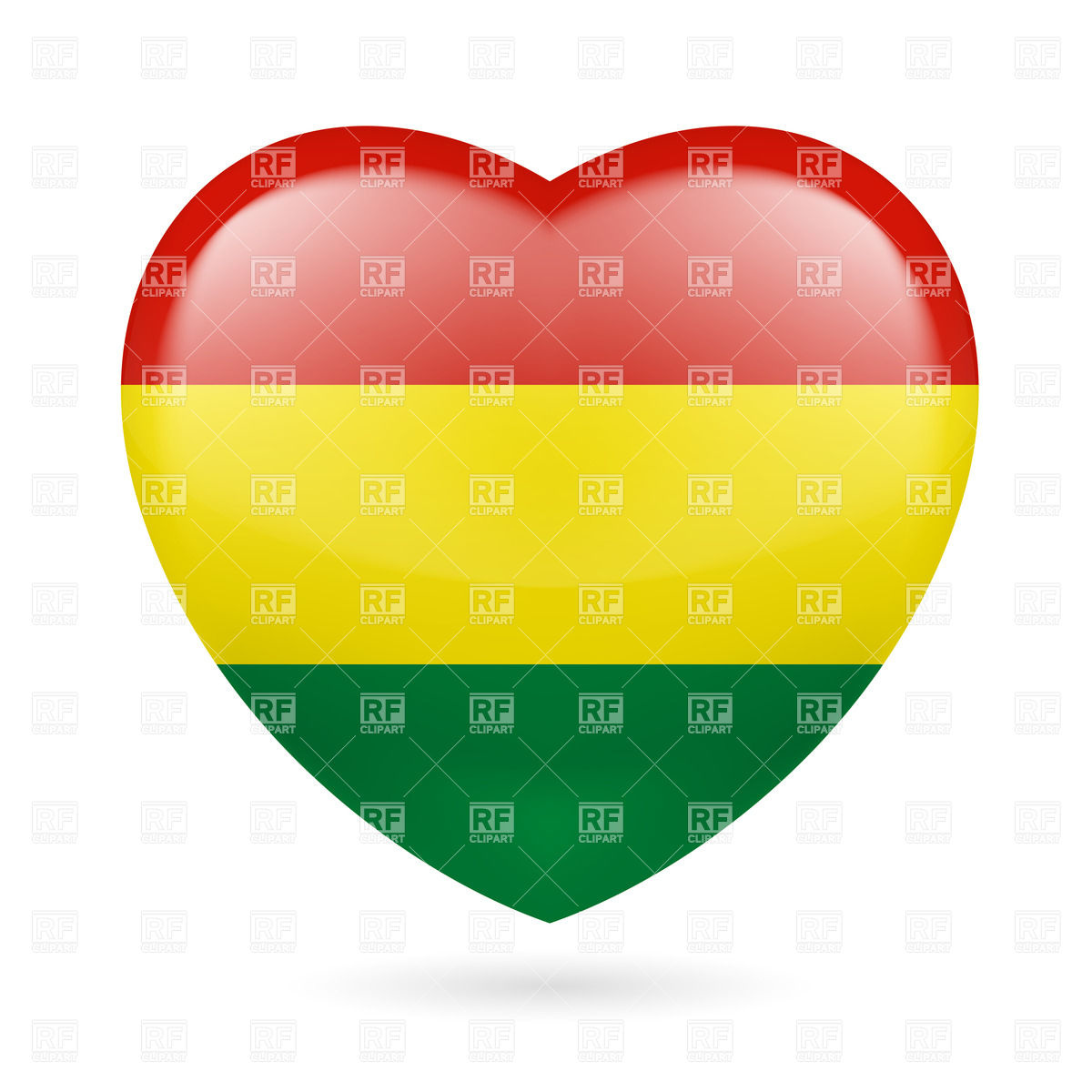 1200x1200 Heart With Bolivian Flag Colors. I Love Bolivia Royalty Free