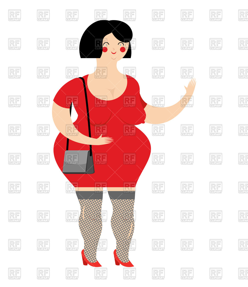 1035x1200 Funny Fat Prostitute In Red Dress Royalty Free Vector Clip Art