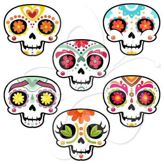 570x570 Sugar Skulls Mexican Day Of The Dead Clip Art Clipart Set