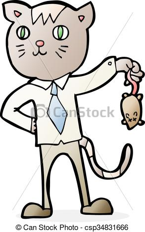 293x470 Cartoon Business Cat With Dead Mouse Clip Art Vector