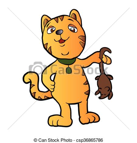 450x470 Cartoon Cat With Dead Mouse.vector Illustration Vector