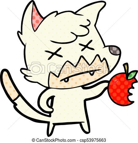 450x468 Cartoon Dead Fox With Apple Clip Art Vector