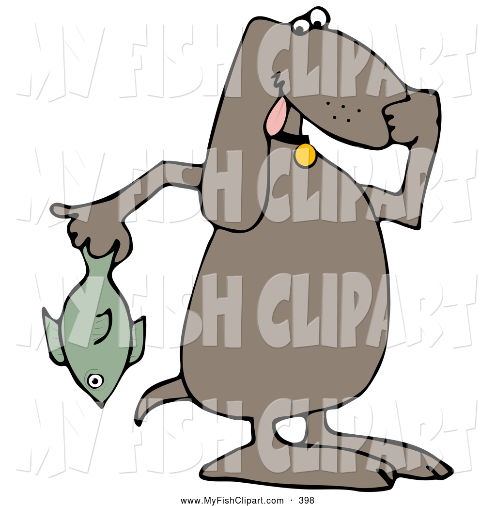 1024x1044 Clip Art Of A Brown Dog Holding A Smelly Dead Fish And Plugging