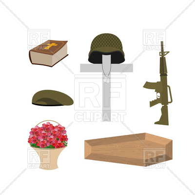 400x400 Death Of Military Veteran. Cross, Coffin And Bible. Royalty Free
