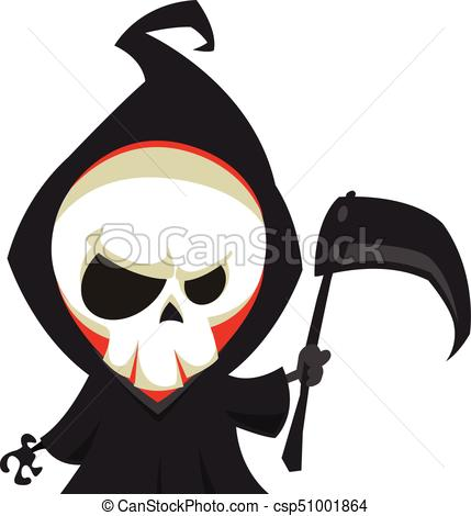 429x470 Grim Reaper Cartoon Character With Scythe Isolated On A Clip