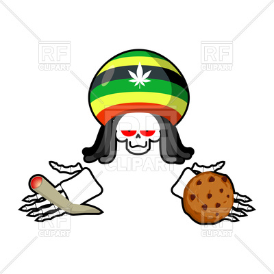 400x400 Rasta Death Offers Cookies And Joint Or Spliff Royalty Free Vector