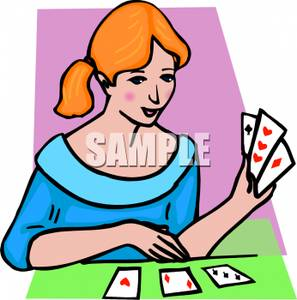 297x300 Clip Art Image A Girl Playing Cards