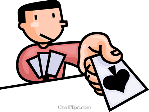 480x361 Man Playing Cards Royalty Free Vector Clip Art Illustration
