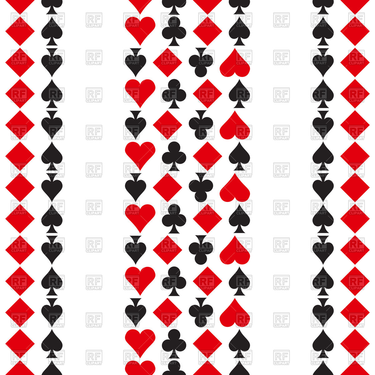 1200x1200 Pattern With Playing Cards Symbols Royalty Free Vector Clip Art