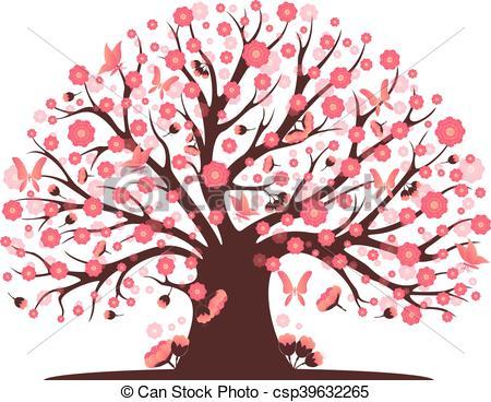 450x368 Decorative Beautiful Cherry Blossom Tree Clip Art Vector