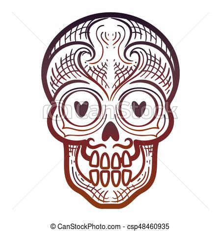 450x470 Decorative Calavera Or Skull Isolated Icon. Hand Drawn Vectors