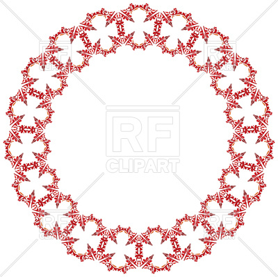 400x399 Decorative Circle Frame Made Of Red Flowers Royalty Free Vector