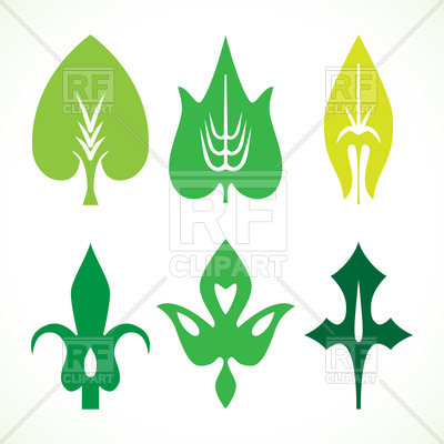 400x400 Decorative Green Leaves Pattern Set Royalty Free Vector Clip Art