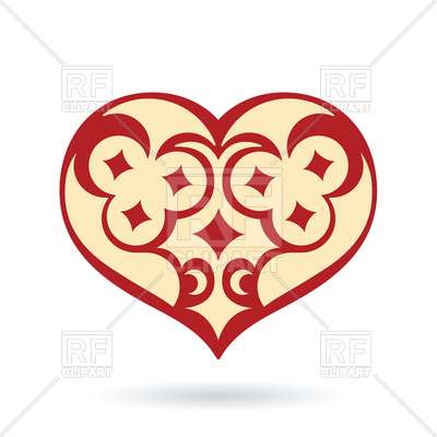 400x400 Decorative Heart With Moon And Stars Ornament Royalty Free Vector