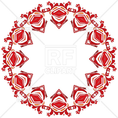 400x400 Decorative Illustrated Red Circle Frame Royalty Free Vector Clip