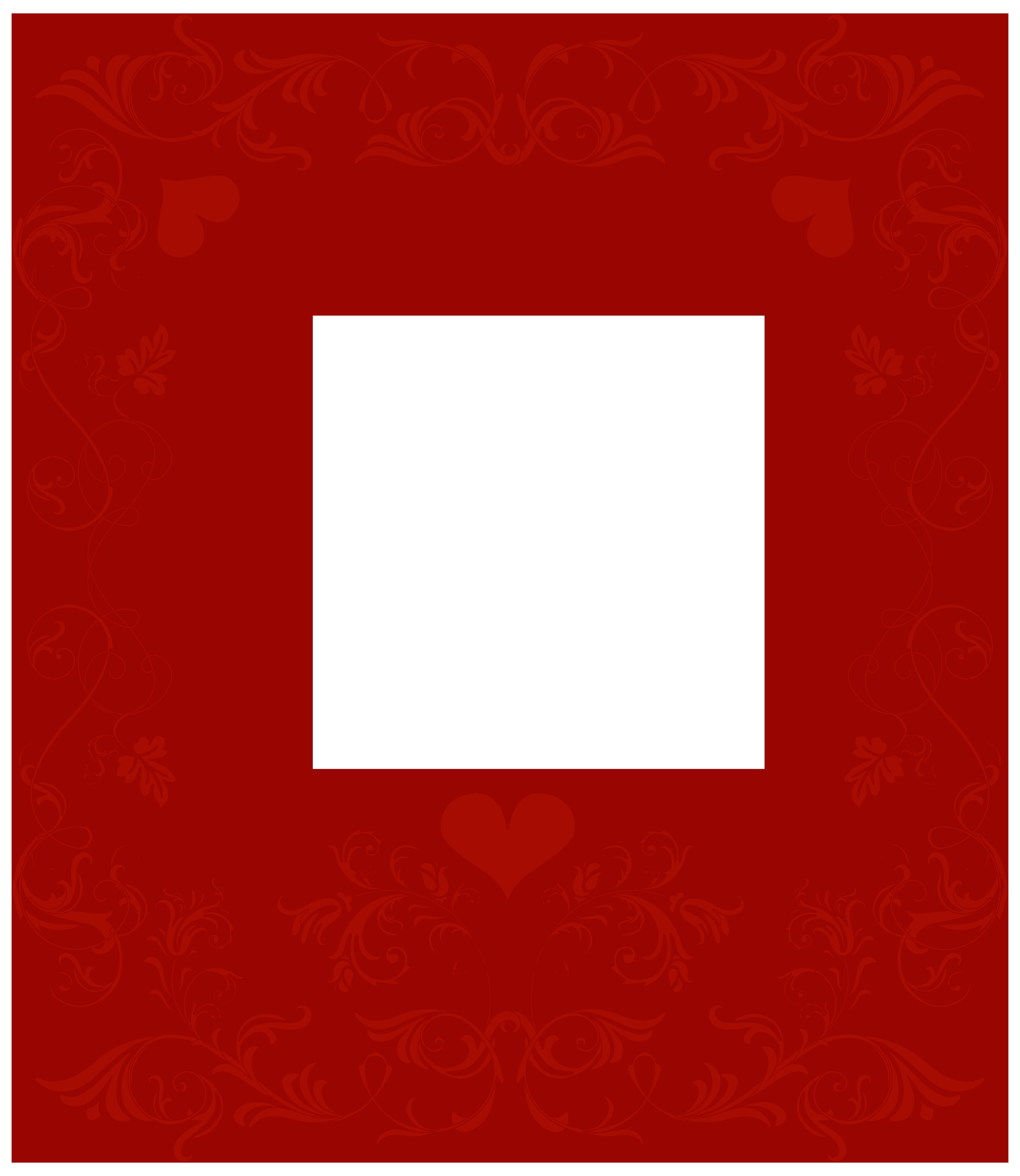 6936x8000 Valentine's Day Decorative Border Transparent Png Clip Art Image