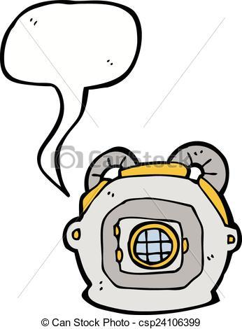 346x470 Cartoon Old Deep Sea Diver Helmet With Speech Bubble Eps Vectors